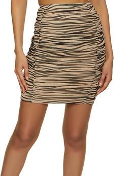 Zebra Print Ruched Mesh Skirt - 1413069390090