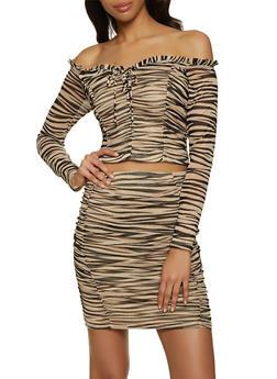 Zebra Off the Shoulder Mesh Top - 1413069390091