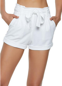Crepe Knit Belted Shorts - 1413069390127