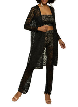 Lace Bandeau Top with Duster and Pants - 1413069390200