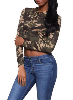Hooded Camo Crop Top - 1413069390606