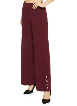 Button Detail Palazzo Pants - 1413069390624
