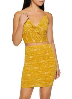 Glitter Knit Twist Front Crop Top - 1413069390630