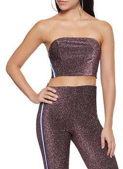 Side Tape Shimmer Knit Tube Top - 1413069390673