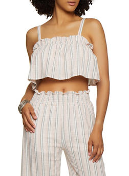 Striped Ruffle Linen Crop Top - 1413069391026