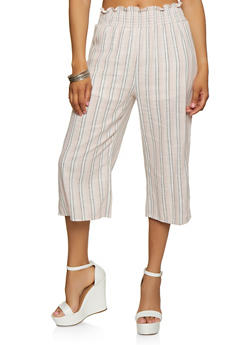 Striped Linen Gaucho Pants - 1413069391027
