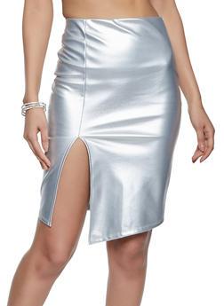 Faux Leather Slit Front Pencil Skirt - 1413069391108