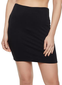 Solid Knit Pencil Skirt - 1413069391238