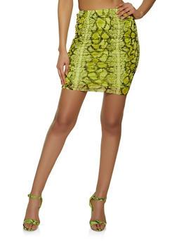 Snake Print Ruched Mesh Skirt - 1413069391265
