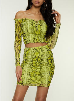 Snake Print Ruched Mesh Top - 1413069391266