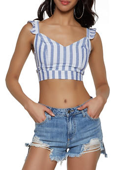 Striped Smocked Back Crop Top - 1413069391474