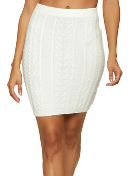 Cable Knit Mini Skirt - 1413069391785