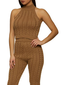 Sleeveless Cable Knit Sweater - 1413069391905