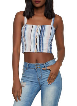 Striped Faux Button Crop Top - 1413069392958