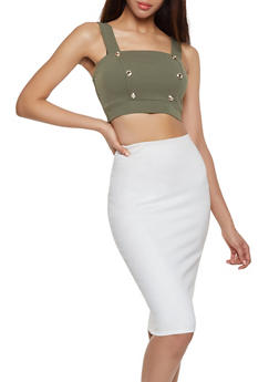 Button Detail Crop Top - 1413069393051