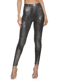 Printed Lurex Leggings - 1413069393059