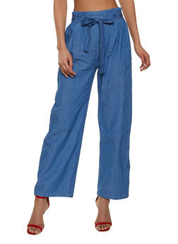 Paper Bag Waist Chambray Pants - 1413069393063