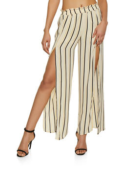 Striped Open Leg Palazzo Pants - 1413069393071