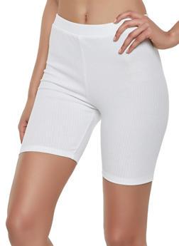 Rib Knit Bike Shorts - 1413069393081