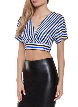 Striped Tie Back Crop Top - 1413069393087