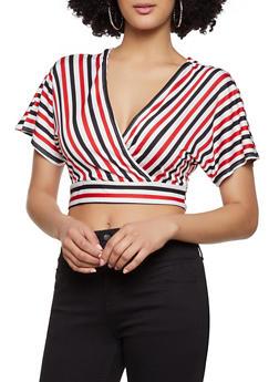Striped Tie Back Crop Top - 1413069393087