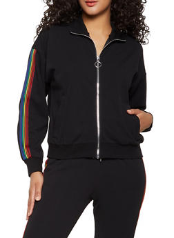 Striped Tape Crepe Knit Track Jacket - 1413069394172