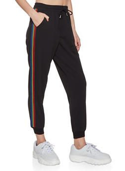 Rainbow Stripe Detail Joggers - 1413069395172