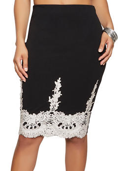 Crochet Embroidered Pencil Skirt - 1413069395365