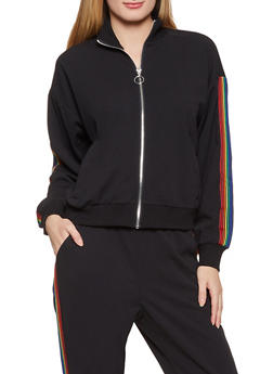 Rainbow Stripe Detail Track Jacket - 1413069397014