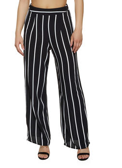 Striped Crepe Palazzo Pants - Black - Size M - 1413069397025