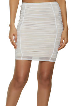 Ruched Mesh Pencil Skirt - 1413069399009