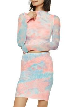 Tie Dye Mesh Crop Top - 1413069399082