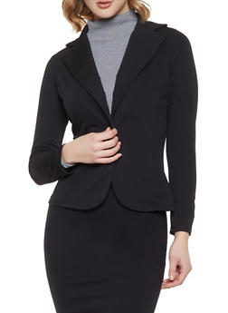 Textured Knit Blazer - 1413072241595