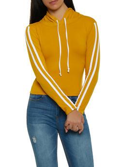 Varsity Stripe Soft Knit Hooded Top - 1413072290113