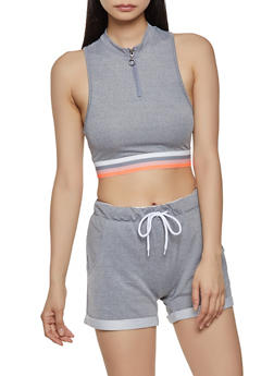 Striped Elastic Band Crop Top - 1413072290140