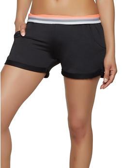 Striped Elastic Band Athletic Shorts - Black - Size M - 1413072290141