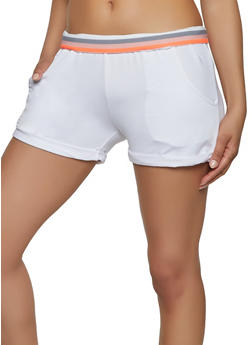 Striped Elastic Band Athletic Shorts - 1413072290141