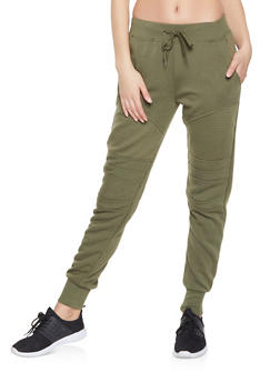 Fleece Lined Moto Sweatpants - 1413072290186