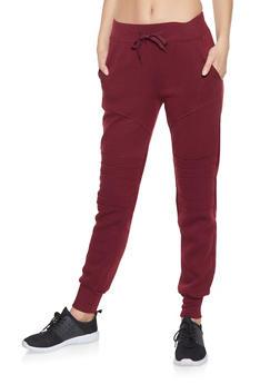 Fleece Lined Moto Sweatpants - 1413072290186