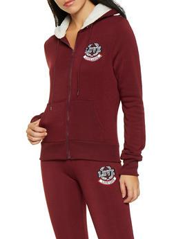 Love Embroidered Fleece Lined Sweatshirt - 1413072290220
