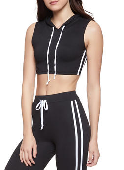 Hooded Varsity Stripe Crop Top - 1413072291212