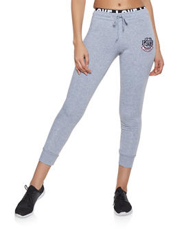 Love Embroidered Fleece Lined Joggers - 1413072291220