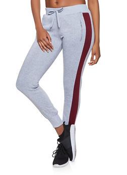 Side Stripe Fleece Lined Joggers - 1413072291501