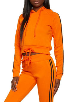 Drawstring Hem Varsity Stripe Sweatshirt - 1413072291962