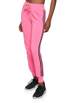 Varsity Stripe Joggers - NEON PINK - 1413072291963