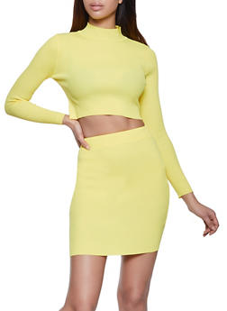 Cropped Mock Neck Top with Pencil Skirt - 1413072292020