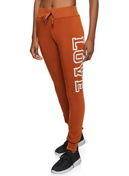 Love Graphic Fleece Lined Joggers - 1413072292536