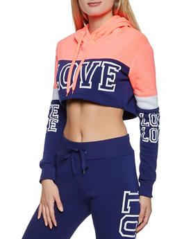 Cropped Love Color Block Sweatshirt - 1413072292618