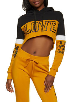 Love Color Block Cropped Sweatshirt - 1413072292636