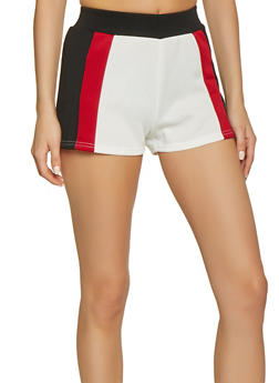 Color Blocked Scuba Knit Shorts - 1413072295208